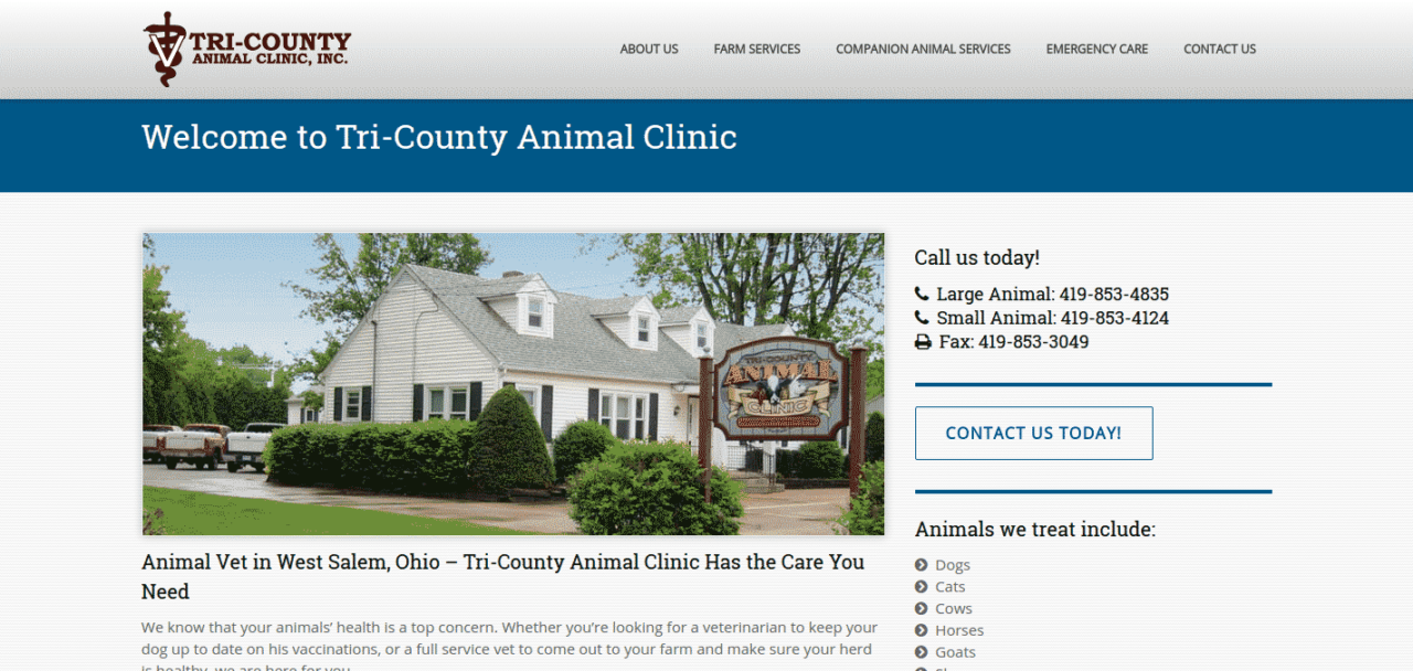 tri-county animal clinic inc website image