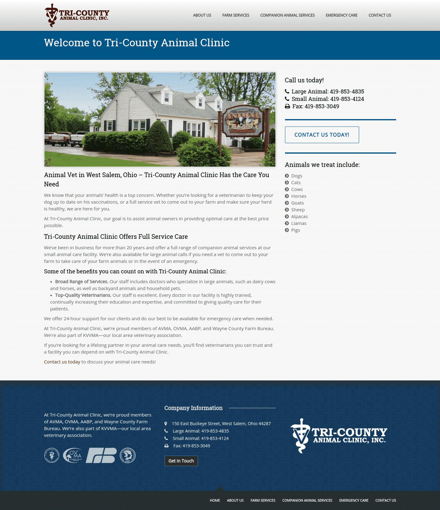 tri-county animal clinic incwebsite image